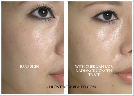 guerlain-l'or-radiance-concentrate-with-pure-gold-before-and-after-swatch