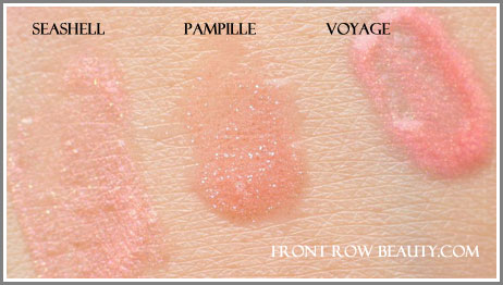 chanel-Levres-Scintillantes-Glossimer-156-Pimpille-25-Voyage-87-Seashell-swatches