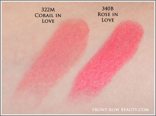 lancome-rouge-in-love-lipstick-340B-Rose-Boudoir-322M-Corail-in-Love-swatches
