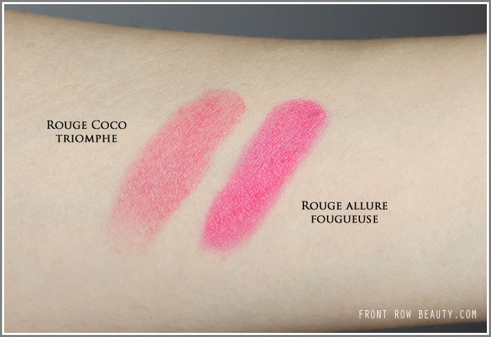 chanel-rouge-allure-130-fougueuse-rouge-coco-60-triomphe-notes-de-printemps-swatches