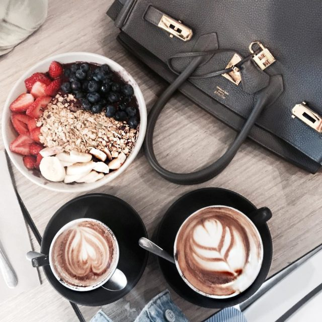 3 things I am always addicted to #Hermes #coffee #acaibowl #hermeslover #birkintogo #hermesetain #birkinetain #etain #coffeelover #luxury #lifestyle