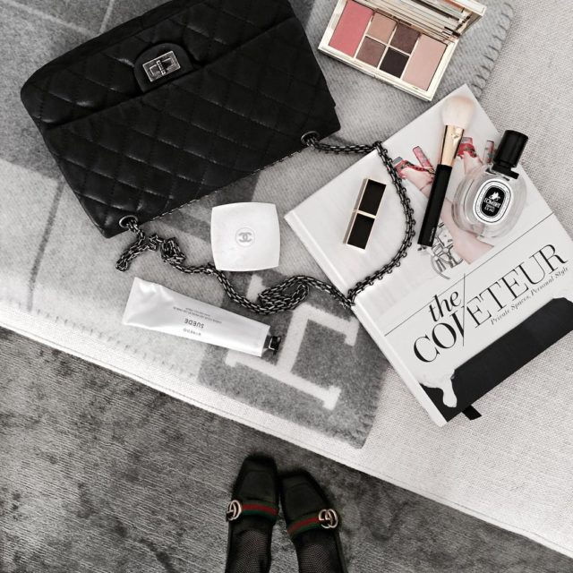 Details today tap for details #flatlay #luxuryfashion #beautyflatlay #chanelbag #chanelreissue #guccishoes #gucciloafers #hermesblanket