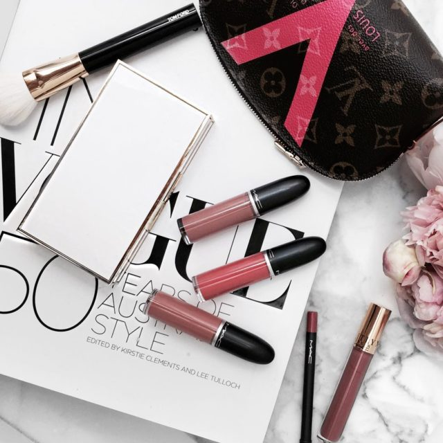 Currently loving - #MAC retro matte #tobereviewed #flatlay #beautyflatlay #maccosmetics #tomfordbeauty #louisvuitton #lvcosmeticpouch #luxurybeauty #makeupaddict #lipstickjunkie #bblogger
