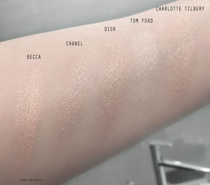 best-highlighter-powder-tom-ford-charlotte-tilbury-chanel-dior-becca-review-comparison-swatch-1