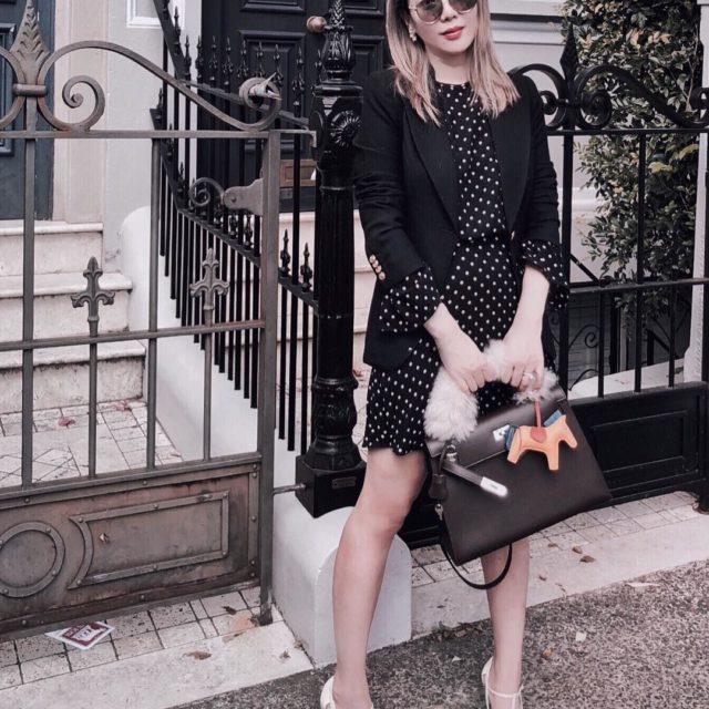 #ootd with my new fluffy strap Blazer #Smythe Dress #Zimmermann Sunnies #Dior Shoes #GiorgioArmani Bag #HermesKelly28 Bag strap #Valextra ...…
